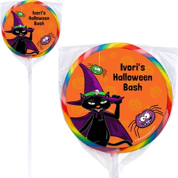 Black Cat Personalized Lollipops (12 Pack)
