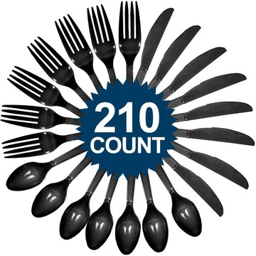 Black Cutlery Set (210 Pack)