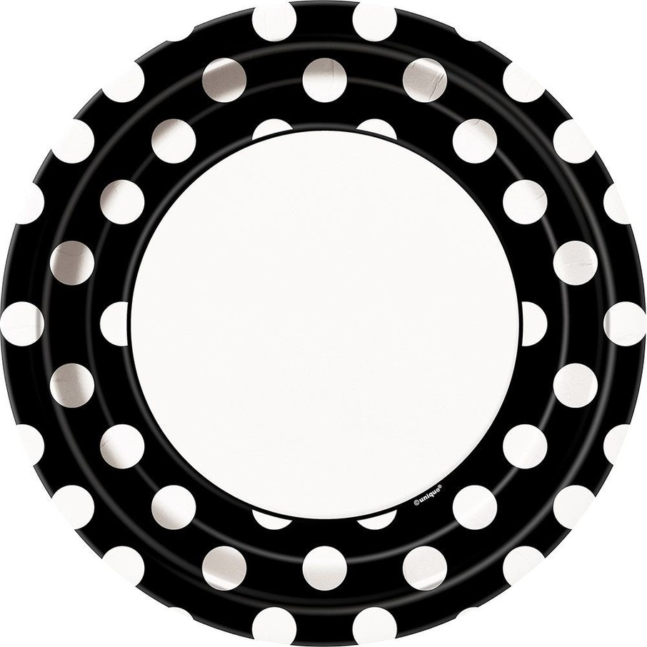 "View larger image of Black Dots 9"" Luncheon Plates (8 Pack)"