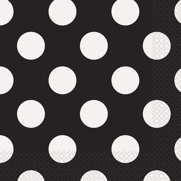 Black Dots Luncheon Napkins (16 Count)