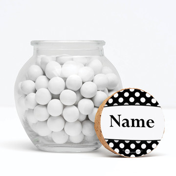 """Black Dots Personalized 3"""" Glass Sphere Jars (Set of 12)"""