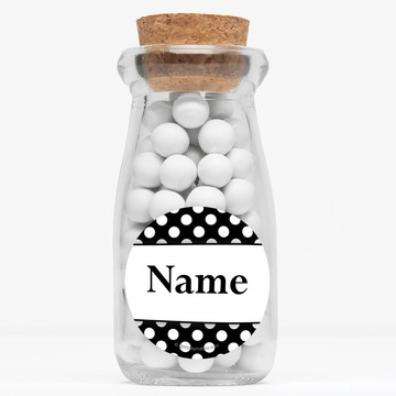 "Black Dots Personalized 4"" Glass Milk Jars (Set of 12)"
