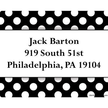 Black Dots Personalized Address Labels (Sheet of 15)