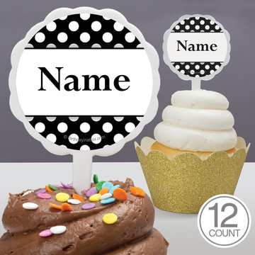 Black Dots Personalized Cupcake Picks (12 Count)