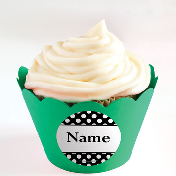 Black Dots Personalized Cupcake Wrappers (Set of 24)