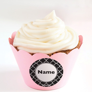 Black Quatrefoil Personalized Cupcake Wrappers (Set of 24)