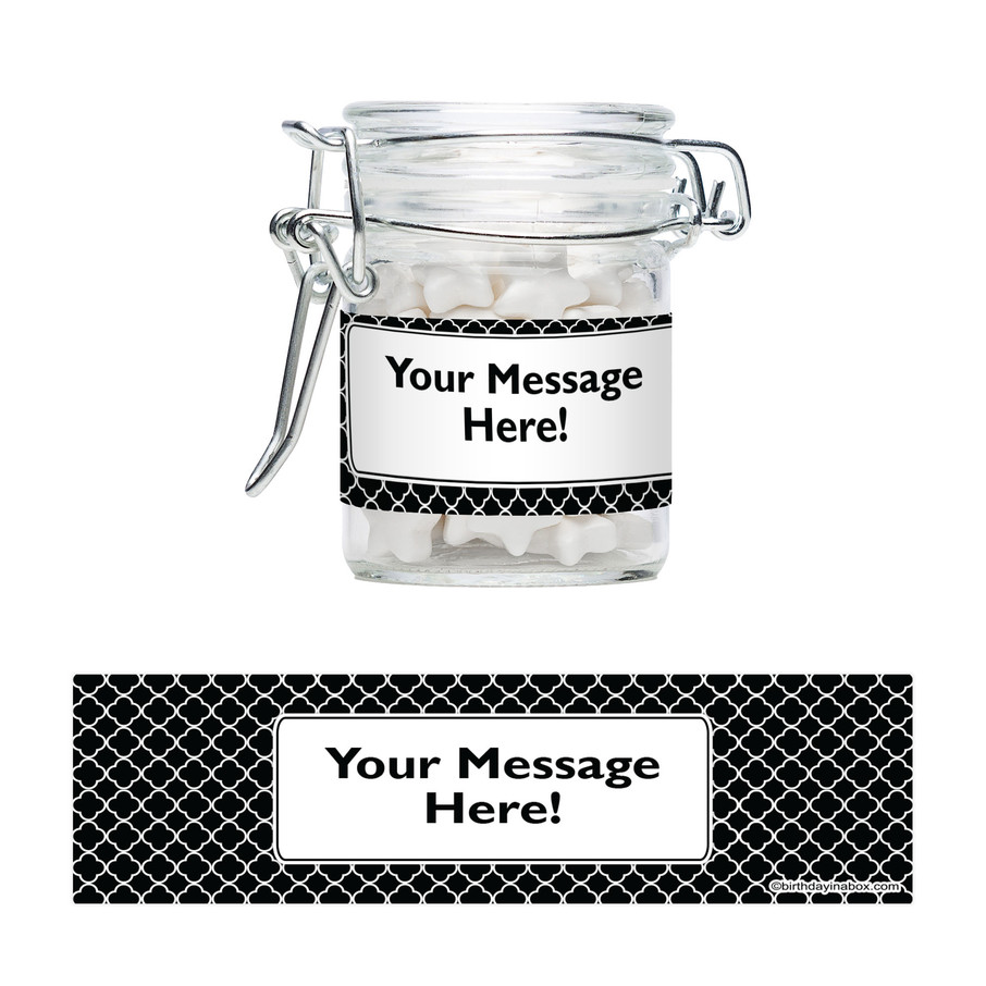View larger image of Black Quatrefoil Personalized Swing Top Apothecary Jars (12 ct)