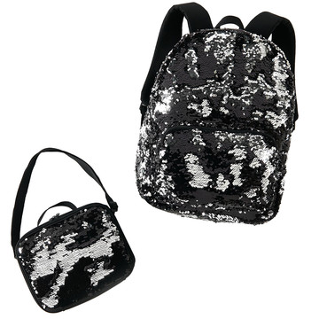 Black & Silver Backpack and Lunch Tote Set