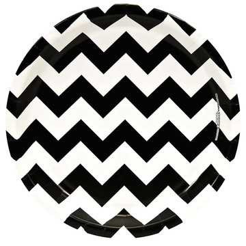"Black & White Chevron 10"" Luncheon Plates (18 Pack)"
