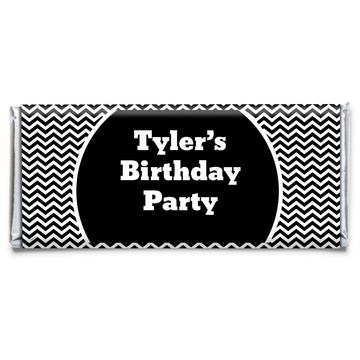 Black White Chevron Personalized Candy Bar Wrapper (Each)