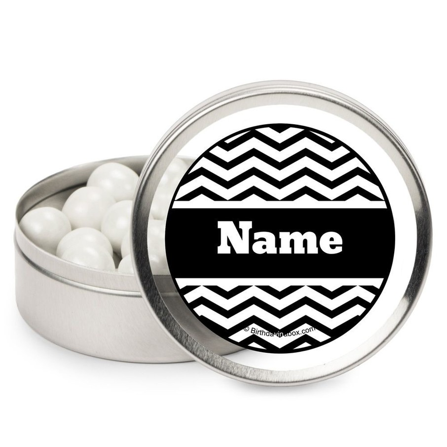 View larger image of Black/White Chevron Personalized Candy Tins (12 Pack)