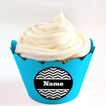 Black/White Chevron Personalized Cupcake Wrappers (Set of 24)