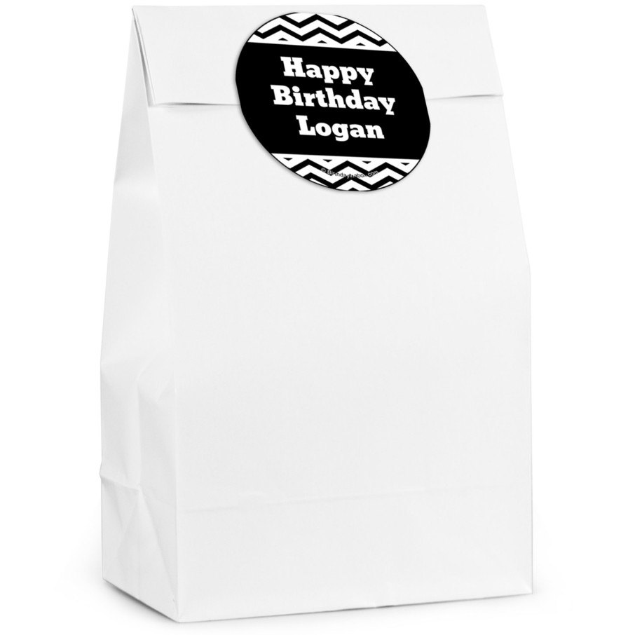 View larger image of Black/White Chevron Personalized Favor Bag (12 Pack)