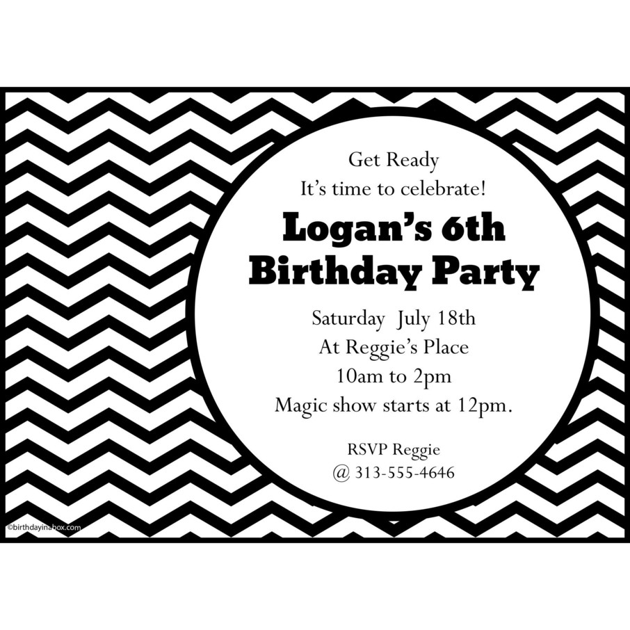 View larger image of Black/White Chevron Personalized Invitation (Each)