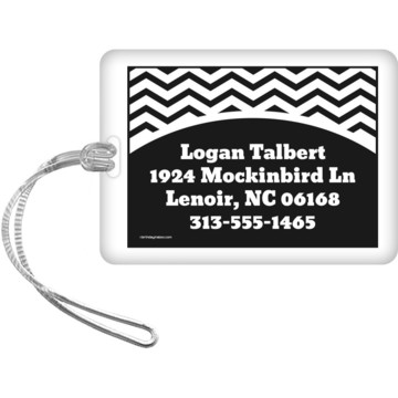 Black/White Chevron Personalized Luggage Tag (Each)