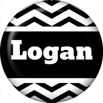 Black/White Chevron Personalized Mini Magnet (Each)