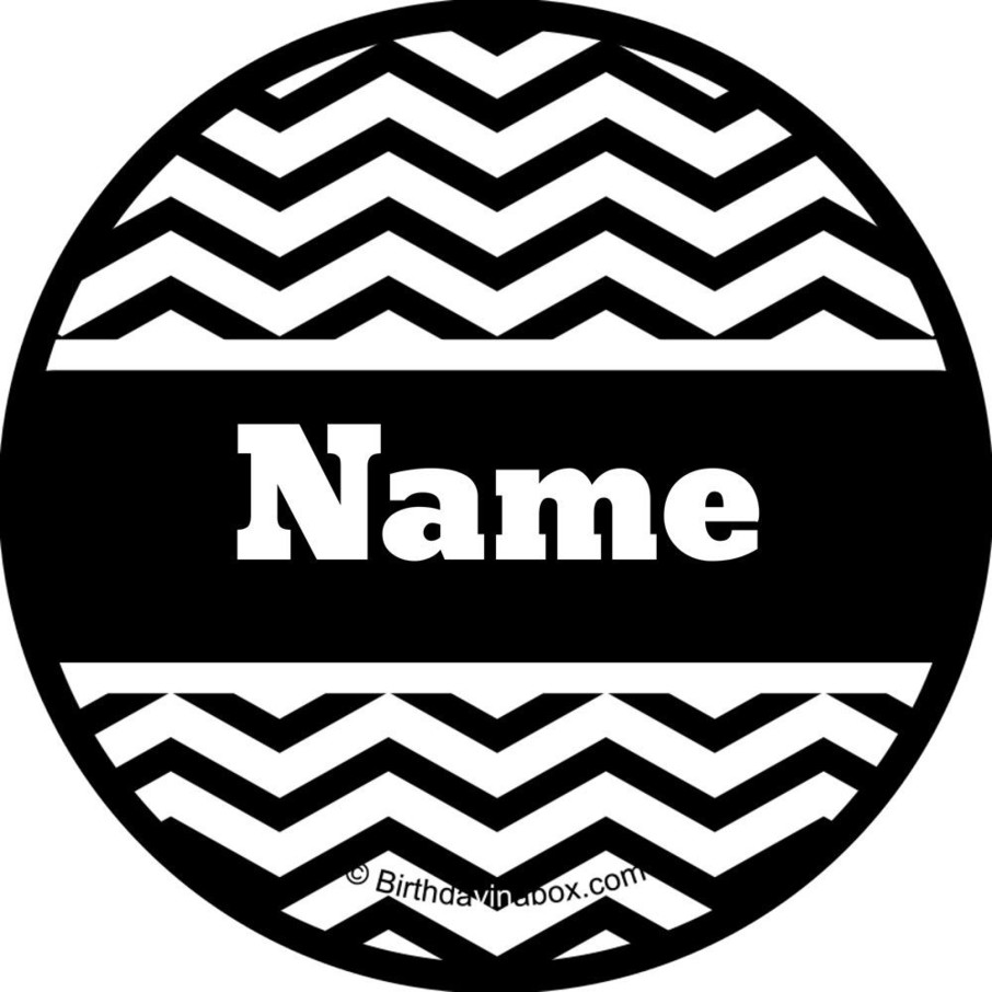 View larger image of Black/White Chevron Personalized Mini Stickers (Sheet of 24)