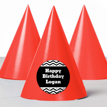 Black/White Chevron Personalized Party Hats (8 Count)