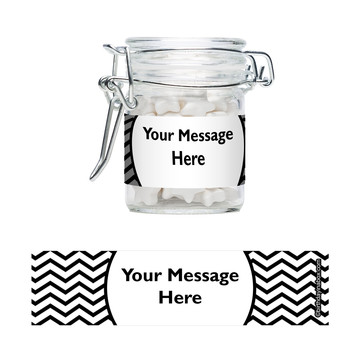 Black & White Chevron Personalized Swing Top Apothecary Jars (12 ct)