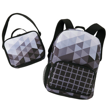 Black & White Fractal Backpack and Lunch Tote Set