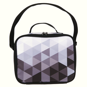 Black White Fractal Canvas Lunch Tote