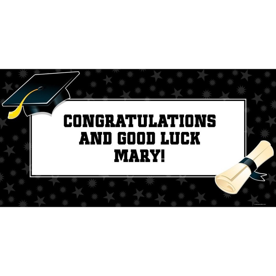 "View larger image of Black/White Graduation Personalized Giant Banner 60x30"" (Each)"