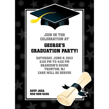 Black & White Graduation Personalized Invitation (Each)
