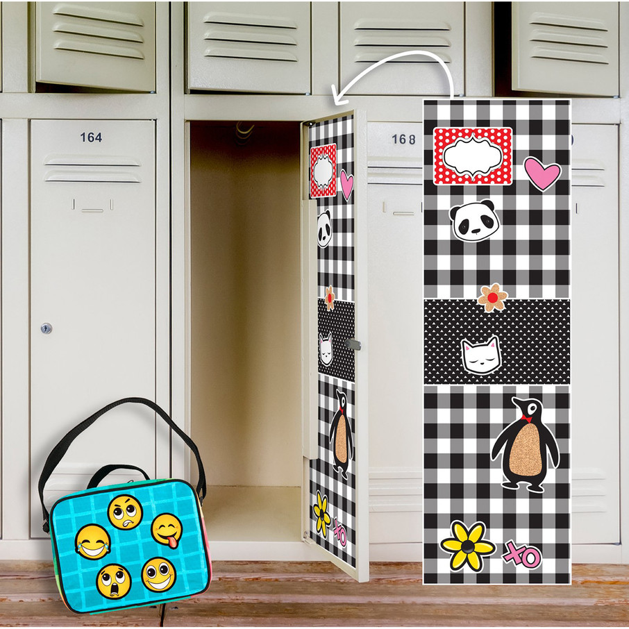 View larger image of Black White Plaid Locker Decal Emoji Patches