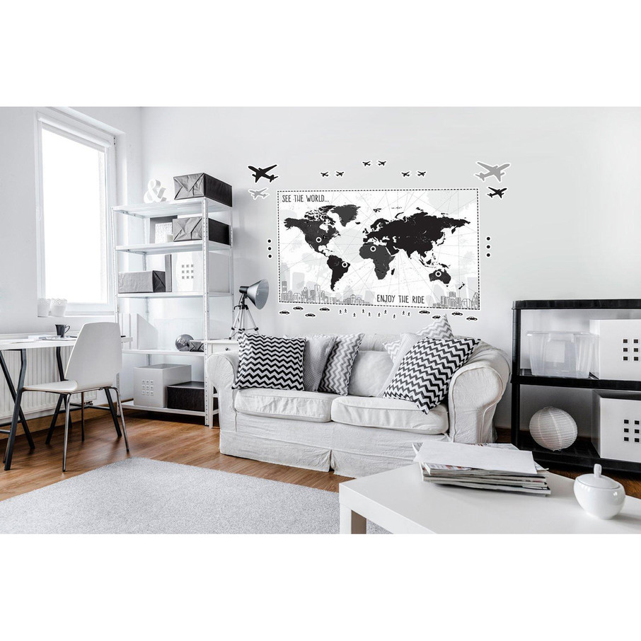 View larger image of Black White Plaid Map Giant Wall Decal