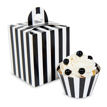 Black White Striped Cupcake Boxes