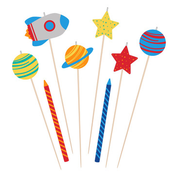 Blast Off Birthday Candle Set