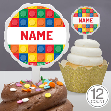 Block Party Personalized Cupcake Picks (12 Count)