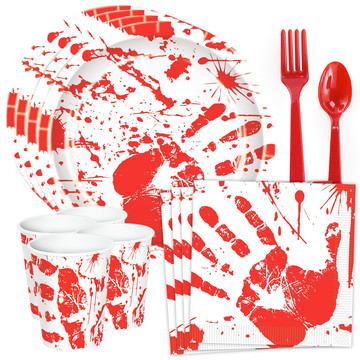 Bloody Handprints Standard Tableware Kit (Serves 8)