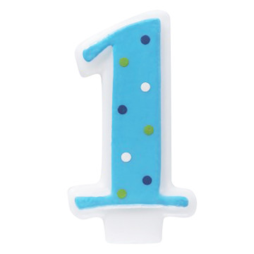 Blue 1 Candle with Polka Dots