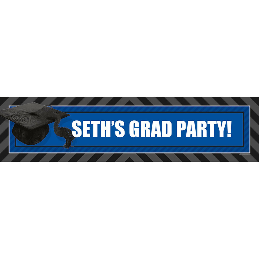 View larger image of Blue Caps Off Graduation Personalized Banner (Each)