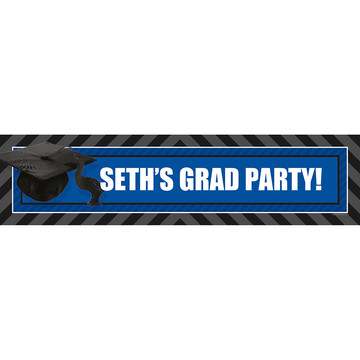 Blue Caps Off Graduation Personalized Banner (Each)