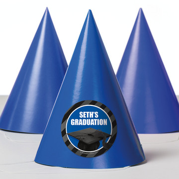 Blue Caps Off Graduation Personalized Party Hats (8 Count)