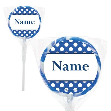 "Blue Dots Personalized 2"" Lollipops (20 Pack)"