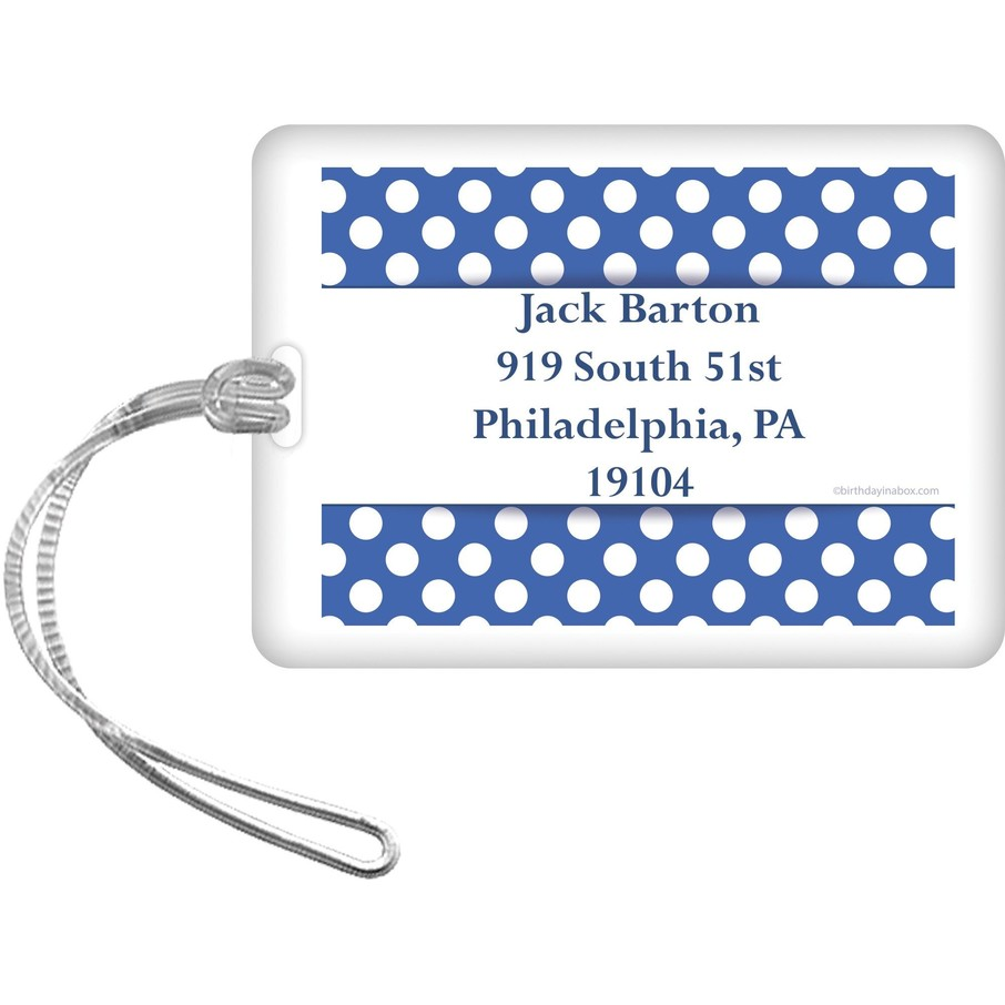 View larger image of Blue Dots Personalized Bag Tag (Each)