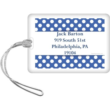 Blue Dots Personalized Bag Tag (Each)