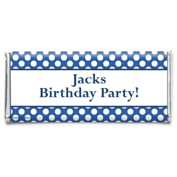 Blue Dots Personalized Candy Bar Wrapper (Each)