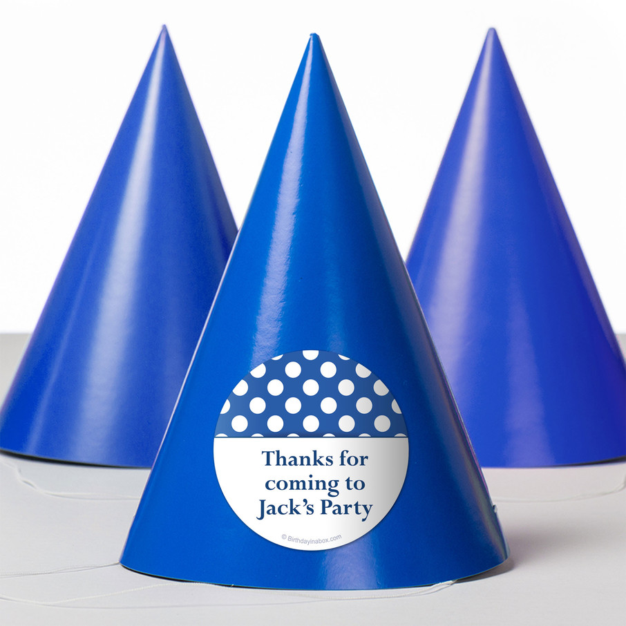 View larger image of Blue Dots Personalized Party Hats (8 Count)