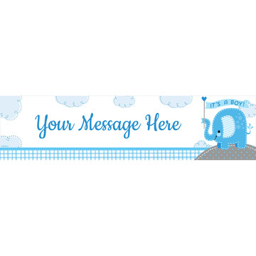 Blue Elephant Personalized Banner (Each)