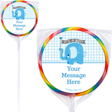 Blue Elephant Personalized Lollipops (12 Pack)