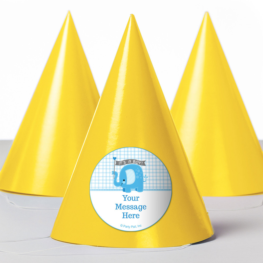 View larger image of Blue Elephant Personalized Party Hats (8 Count)