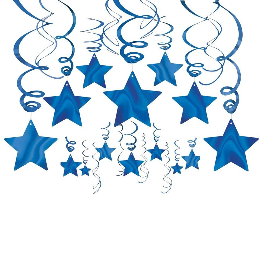 View larger image of Blue Foil Star Hanging Decorations