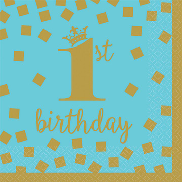 Blue & Gold 1st Birthday Beverage Napkins (16)