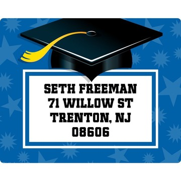 Blue Grad Personalized Address Labels (Sheet Of 15)
