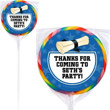 Blue Grad Personalized Lollipops (12 Pack)