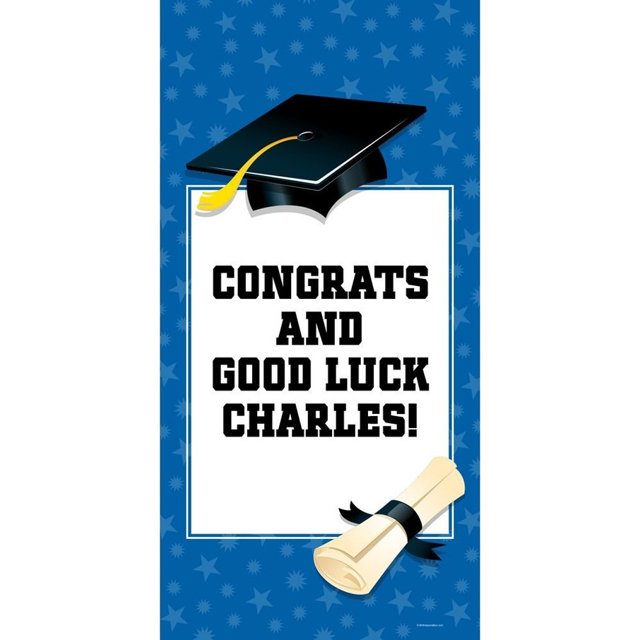 "View larger image of Blue Graduation Personalized Giant Banner 30x60"" (Each)"